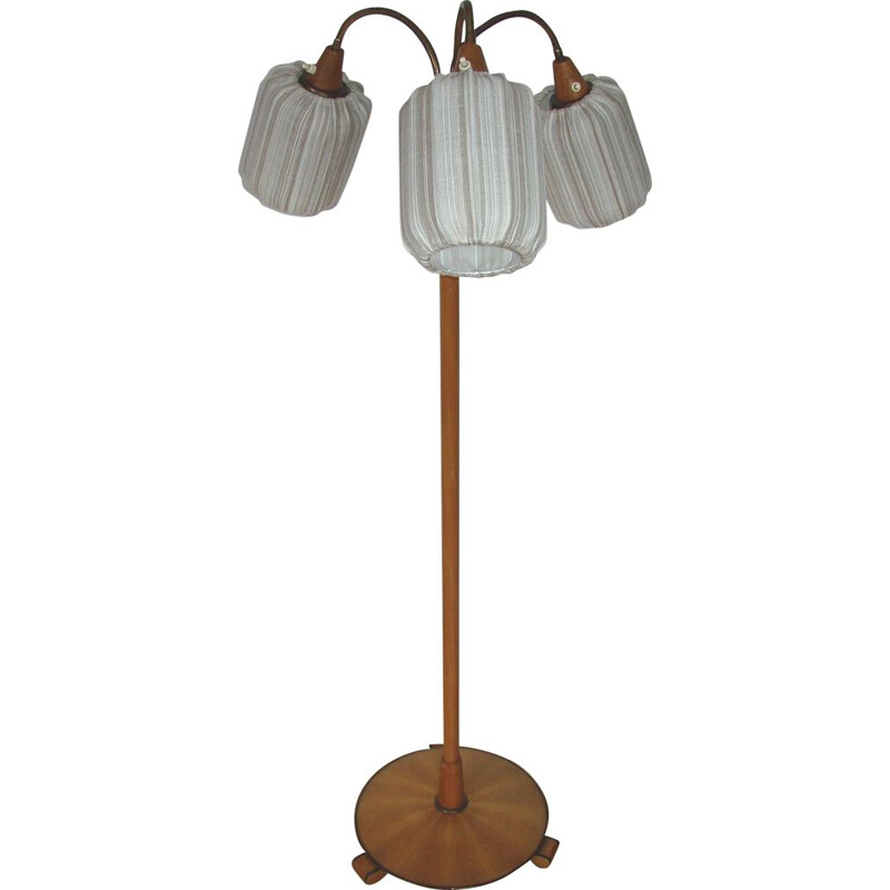 Floor lamp Mid century wood and brass 1960