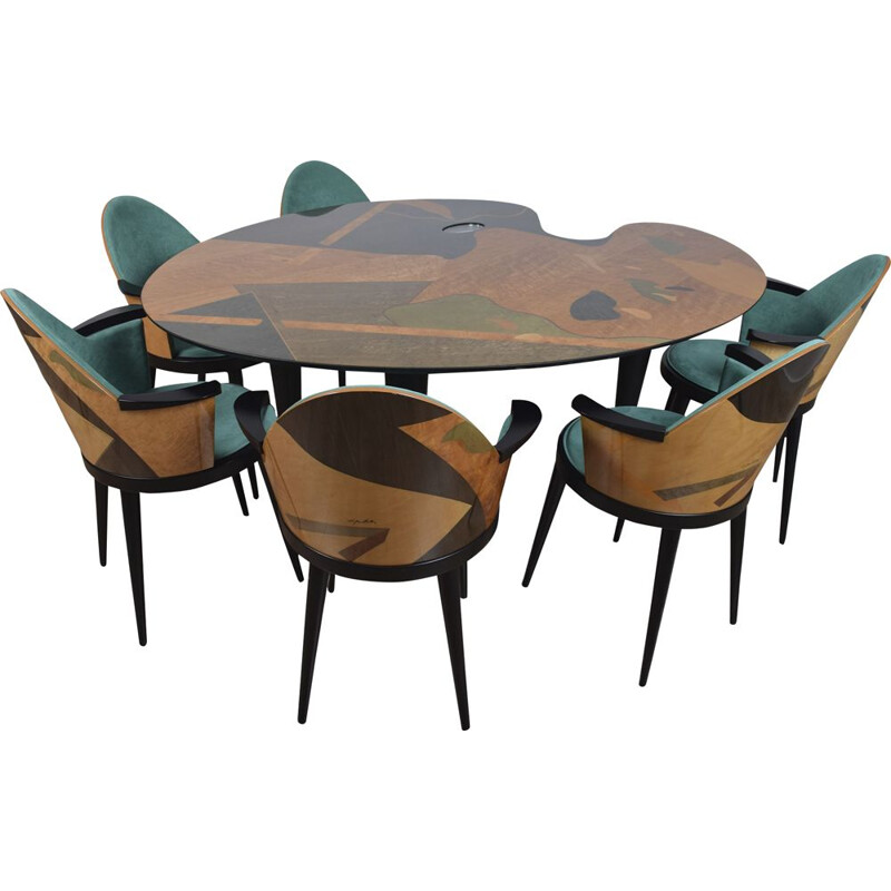 Carlo Malnati marquetry table and chair set 1980