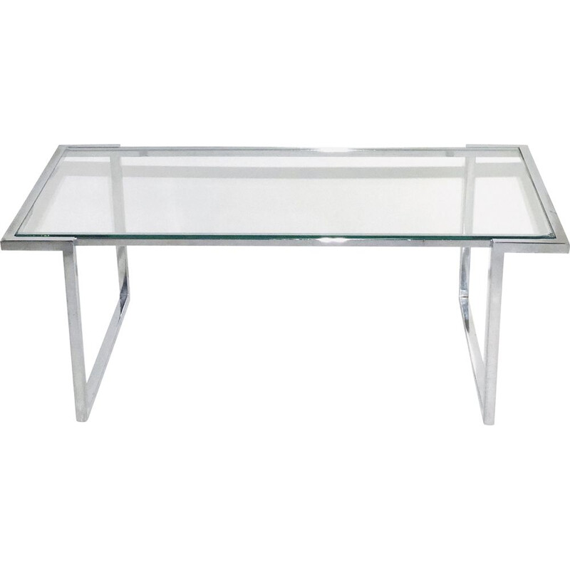 Coffee table with chrome-plated aluminium base and glass top 1970