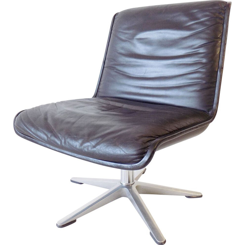 Wilkhahn Delta black leather loungechair by Delta Design