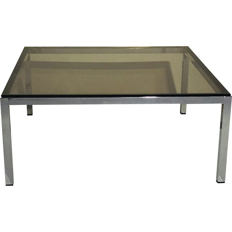 Vintage square chromed aluminium coffee table with smoked glass 1970