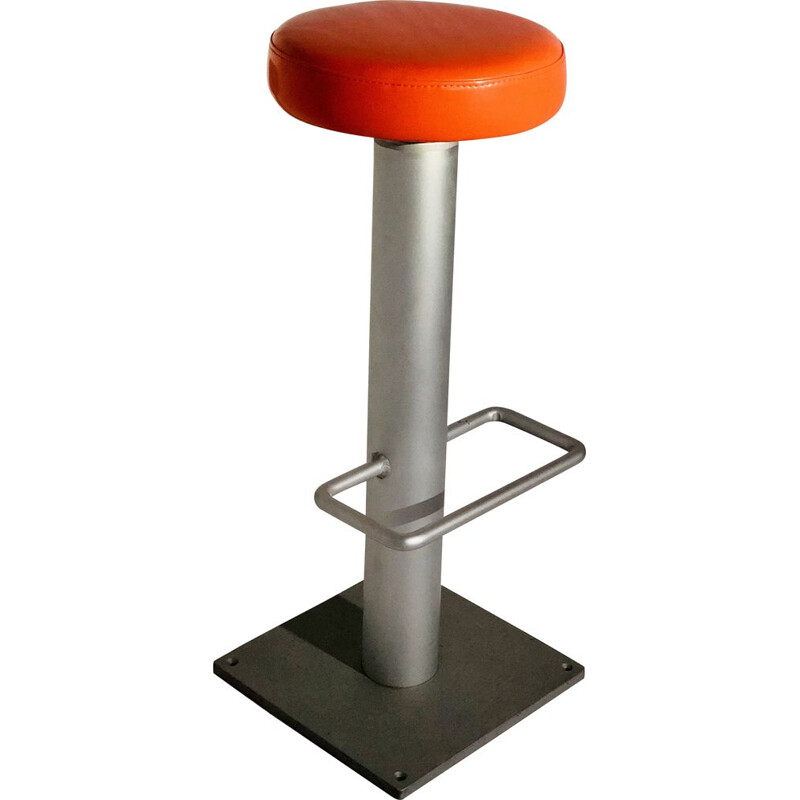 Vintage chrome-plated aluminium stool with orange plastic seat 1990 - SOCA