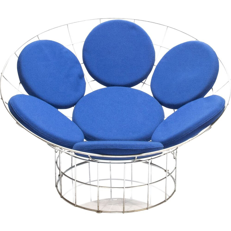 Blue Peacock Lounge Armchair by Verner Panton Denmark 1960