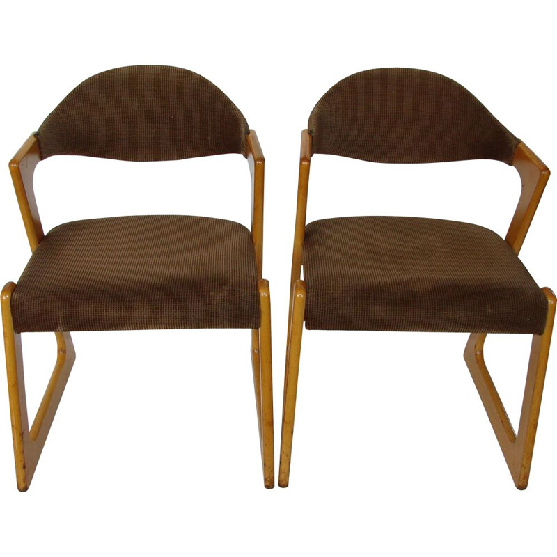 Pair of Casala chairs, beech wood and fabric 1960s