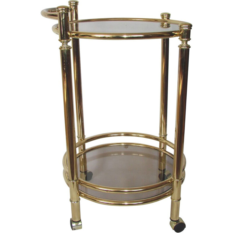 Mobile bar cart, brass metal and glass 1970s