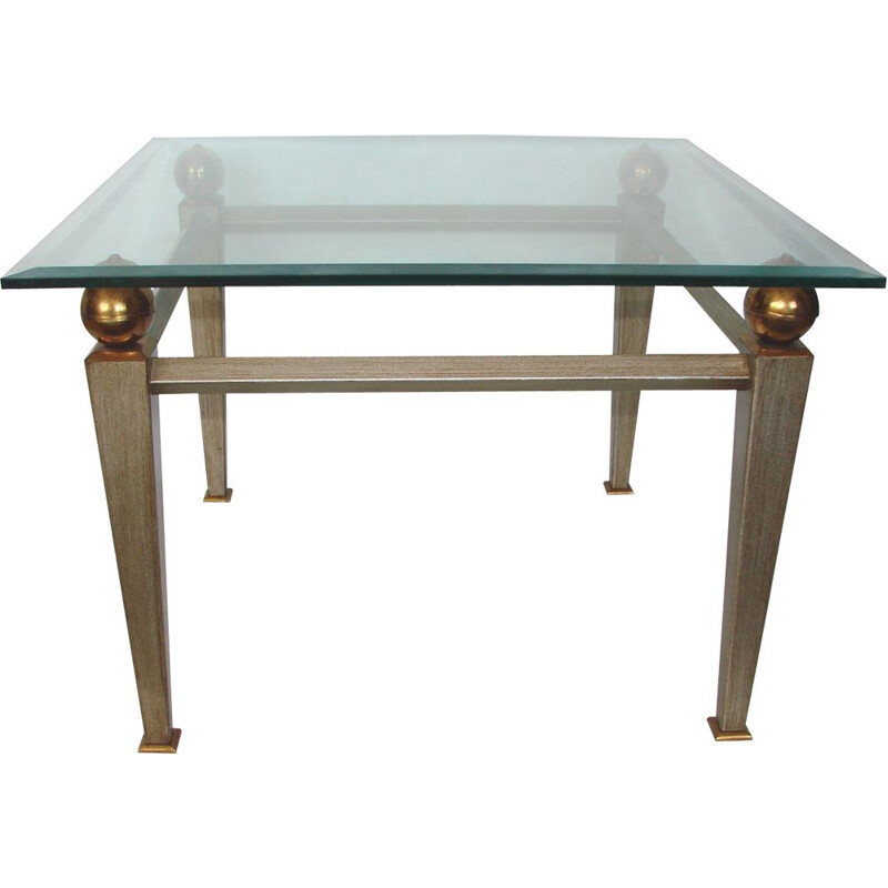 Coffee table, metal, brass and thick glass 1980s