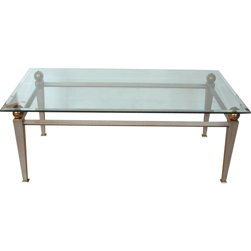 Art deco coffee table, metal, brass and thick ground glass 1980s