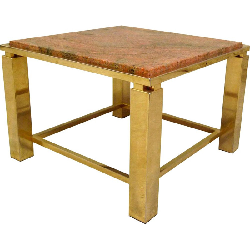 Coffee table marble and golden aluminium marble 1970