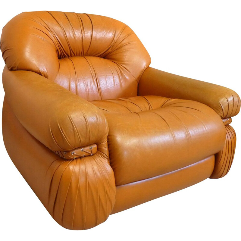 Vintage tawny leather armchair with braided side band 1970