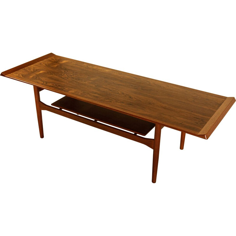 Vintage rosewood and teak coffee table by Ib Kofod-Larsen, Damemark, 1954