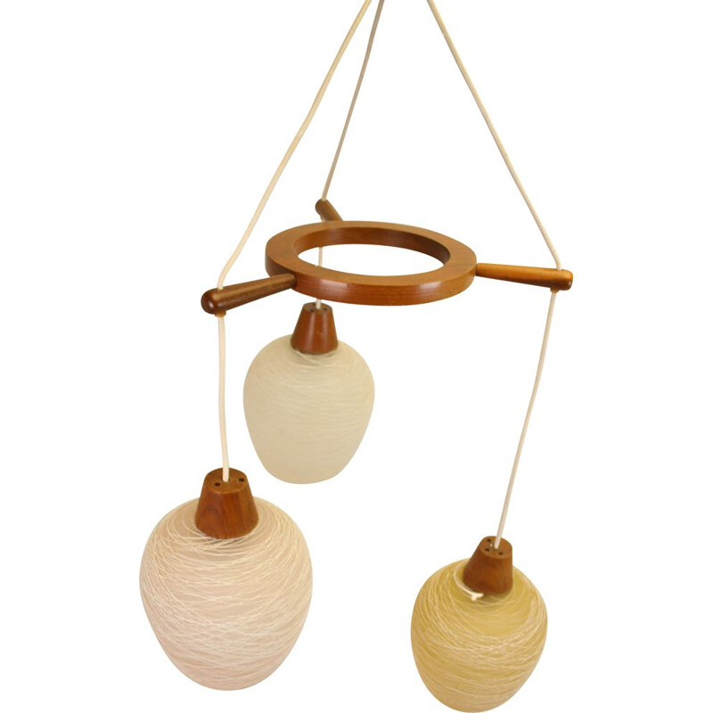 Vintage teak hanging lamp with 3 Scandinavian colored glass balls