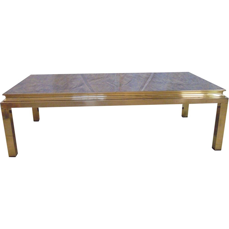 Vintage brass coffee table with agglomerated glass House Jansen,1950