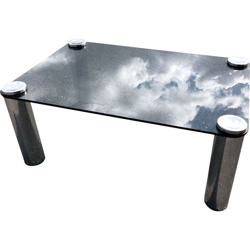 Vintage chrome smoked glass table Marcuso for Zanotta 1965