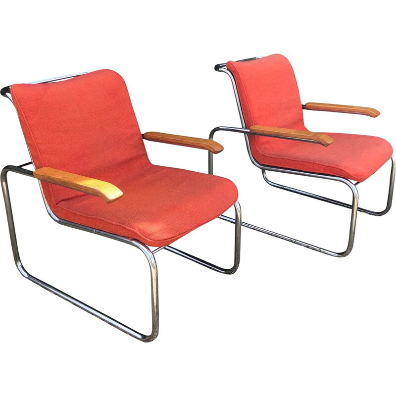 Pair of chrome vintage armchairs and red woollen Mid century B35 marcel breuer knoll 1970