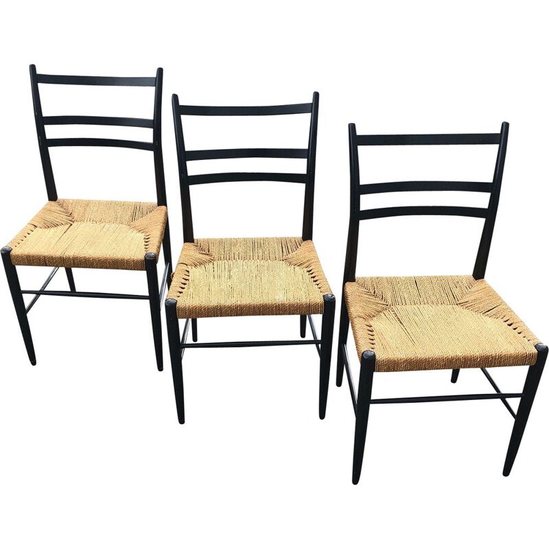 Set of 3 black lacquered wooden chairs with straw seat by Ynge Ekström 1956