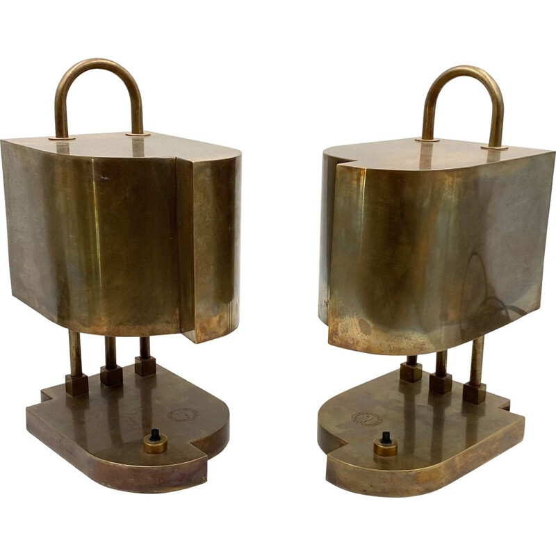 Marcel Breuer Bauhaus Brass Table mid century Desk Lamps