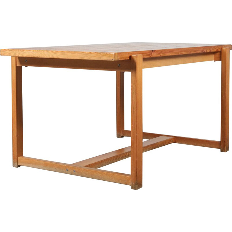 Pine vintage dining table manufactured in Sweden 1960s