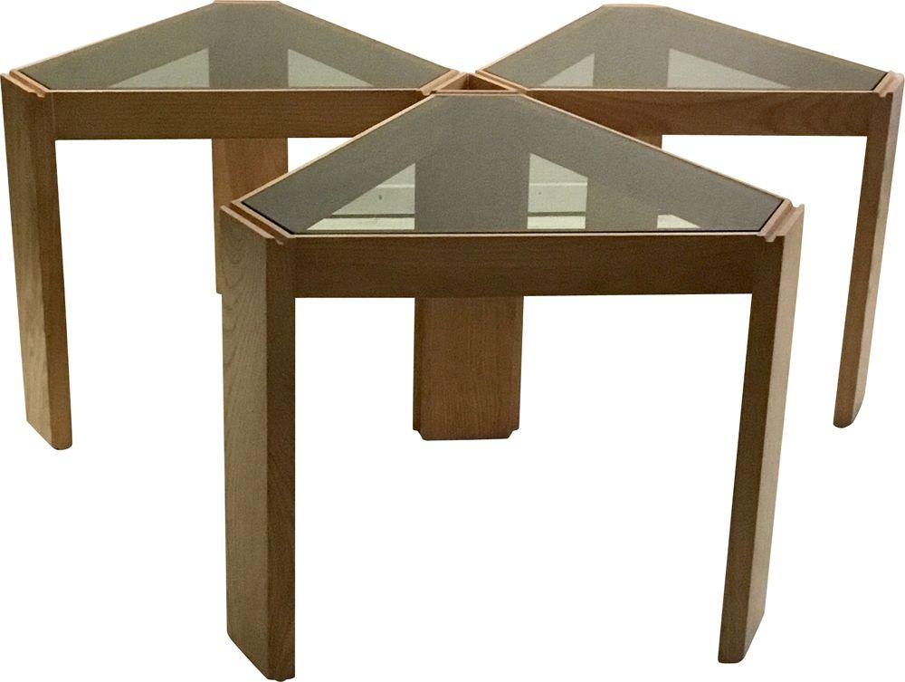 set of 3 coffee tables by porada arredi 1970s