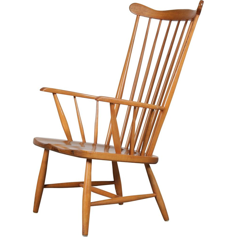 Spokeback lounge chair manufactured in Sweden 1950s