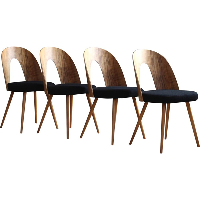 Set of 4 Midcentury Dining Chairs by A. Šuman in Black Wool by Kvadrat