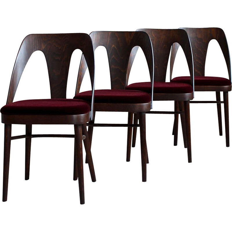 Set of 4 Midcentury Dining Chairs in Burgundy Mohair by Kvadrat