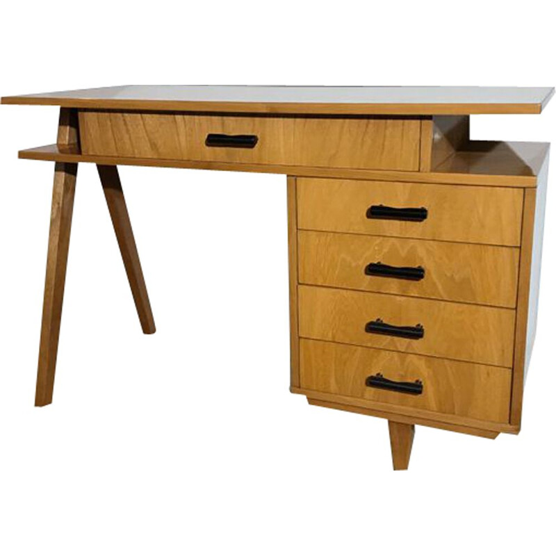 Vintage double-sided fruitwood desk 1950