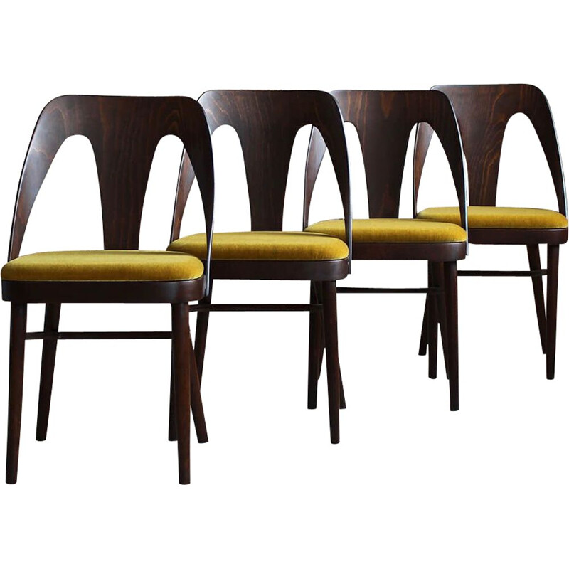 Set of 4 Midcentury Dining Chairs in Honey Yellow Mohair by Kvadrat