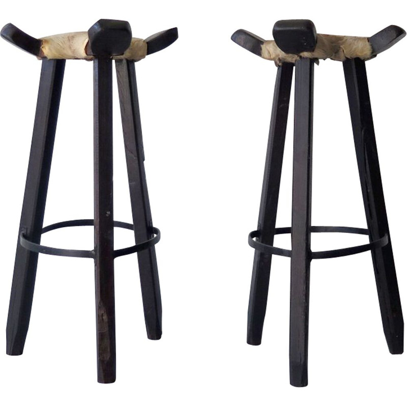 Pair of vintage high stools in cow leather and wood 1930