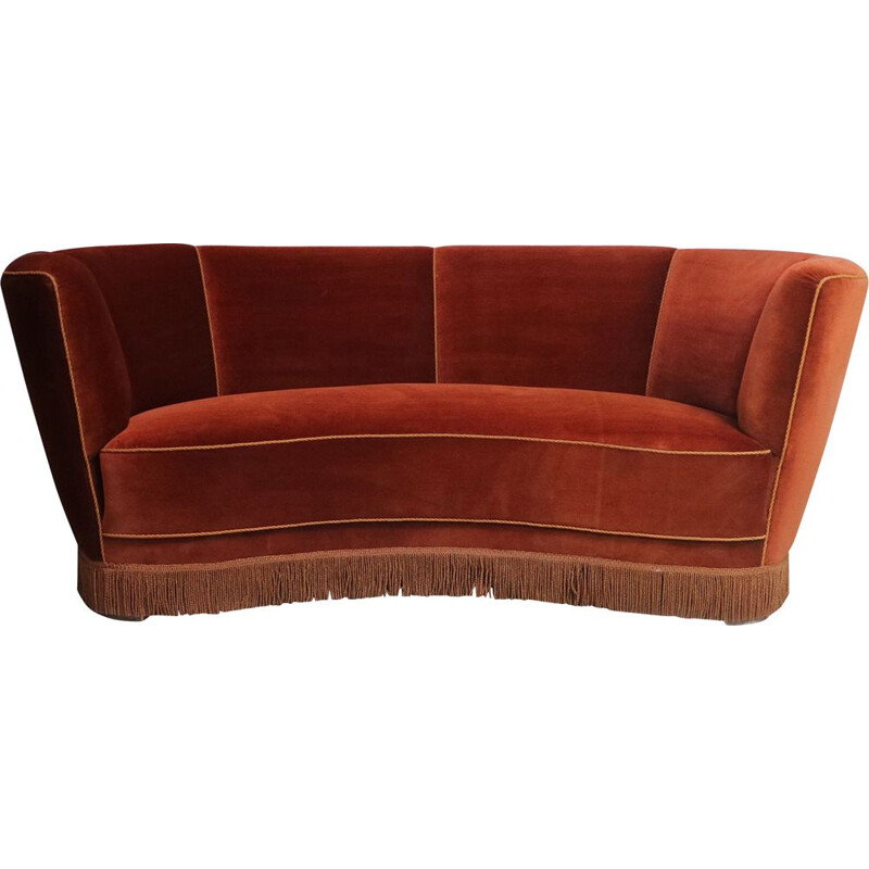 Danish Art Deco 3 seat red velvet sofa mid century 1930's