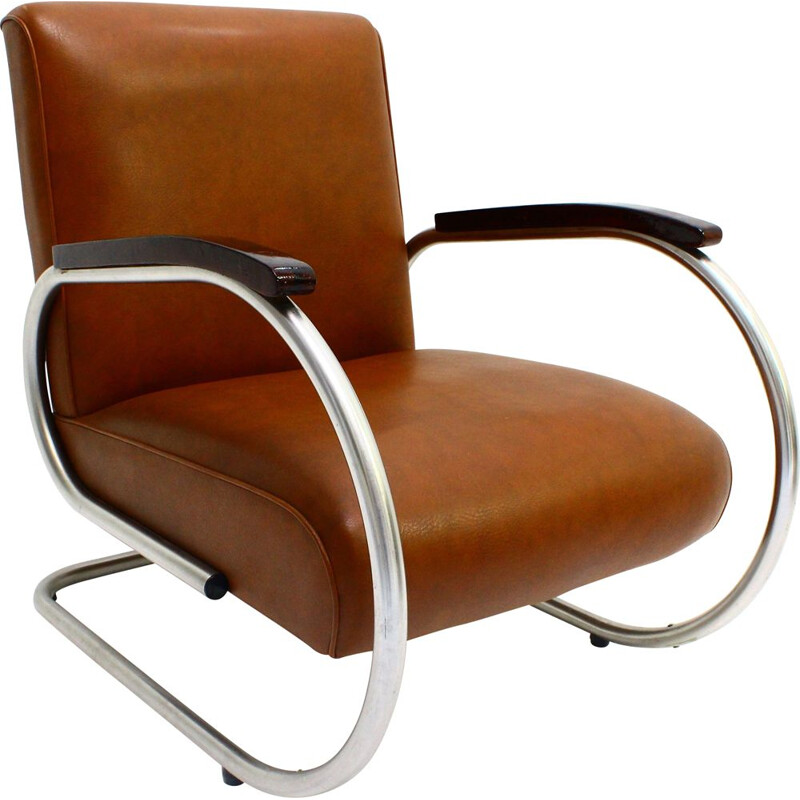 Tubax armchair in tubular steel armrests in lacquered wood 1950