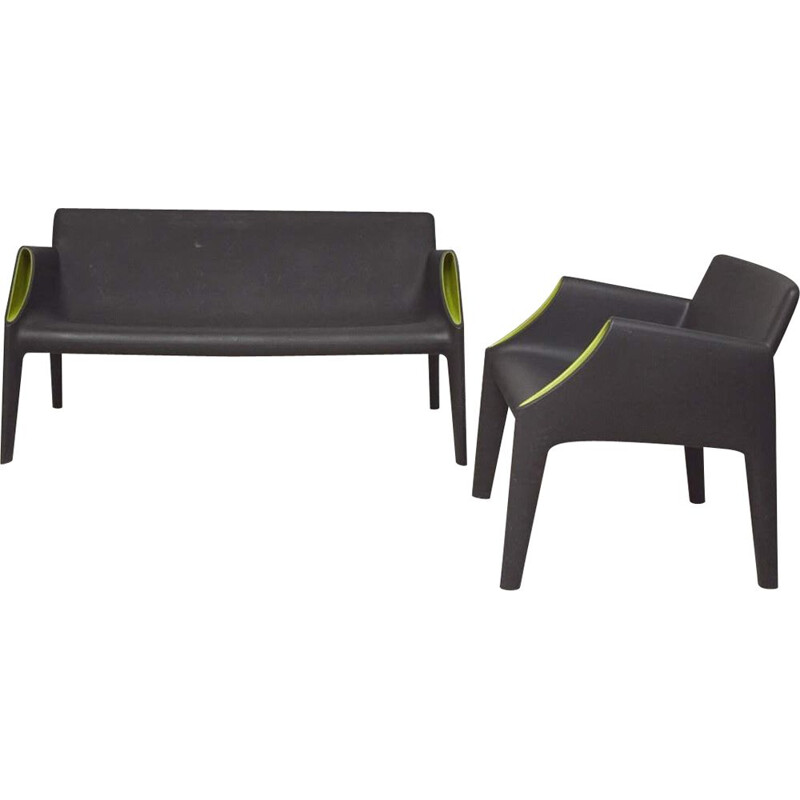 Vintage 2-seater sofa and Magic Hole armchair by Starck Kartell 2011
