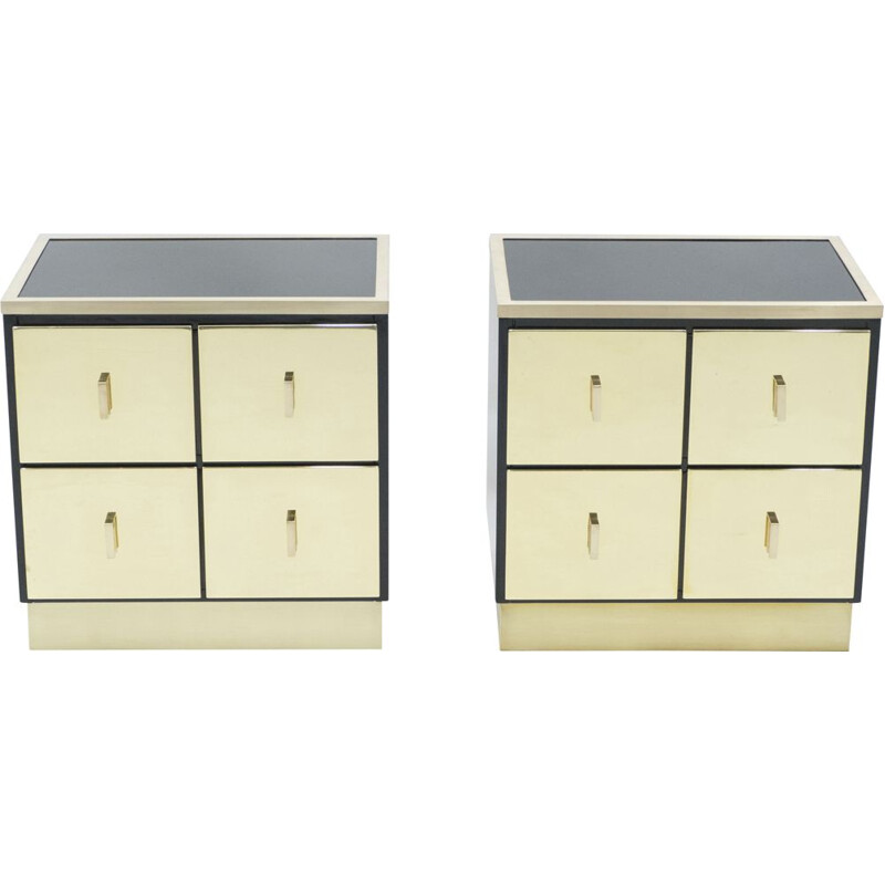Pair of vintage lacquered brass bedside tables Luciano Frigerio Italy 1970