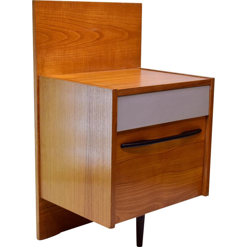 bedside table Mojmir Pozar's for UP Zavody in walnut 1960