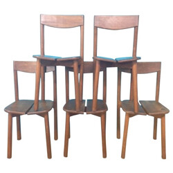 5 chairs in oak, Pierre-DELAYE GAUTIER - 1950s
