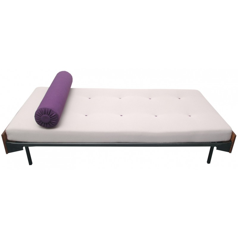Mid century daybed in wood and purple fabric - 1960s