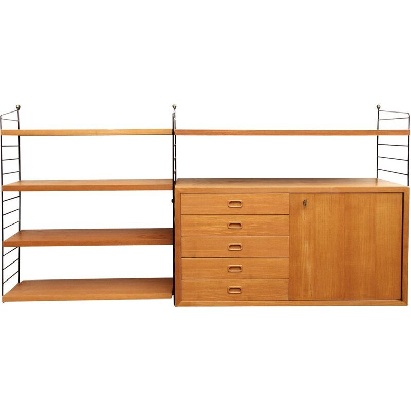 Wall unit Nisse Strinning in ash wood 1960s