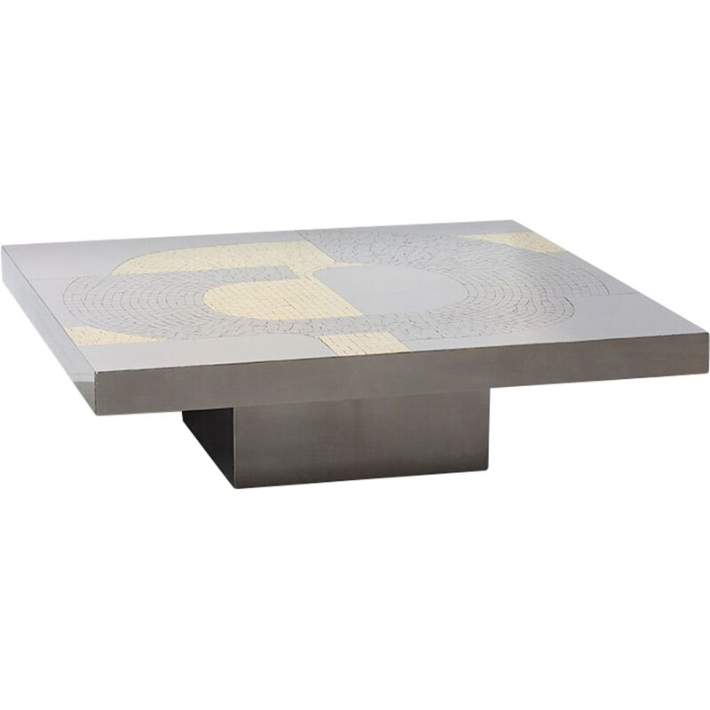 Vintage mosaic coffee table inlaid with steel and brass by Jean Claude Dresse