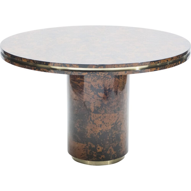 Genuine tortoiseshell and brass vintage table by Ottini Milano 1973