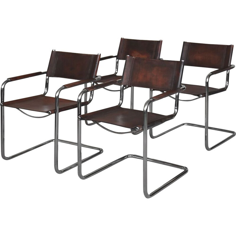 Set of 4 Leather Cantilever Chairs by Centro Studi for Matteo Grassi,1960s