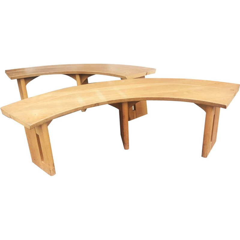 Pair of benches S38A, solid elm Pierre Chapo France, 1960