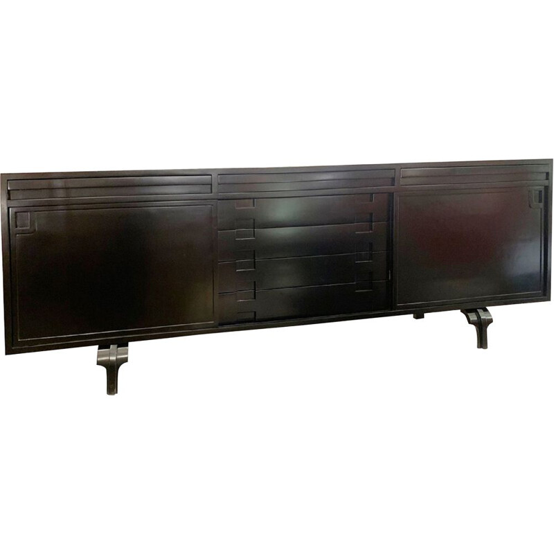 Sideboard  Vintage black lacquered Luigi Massoni's 1960