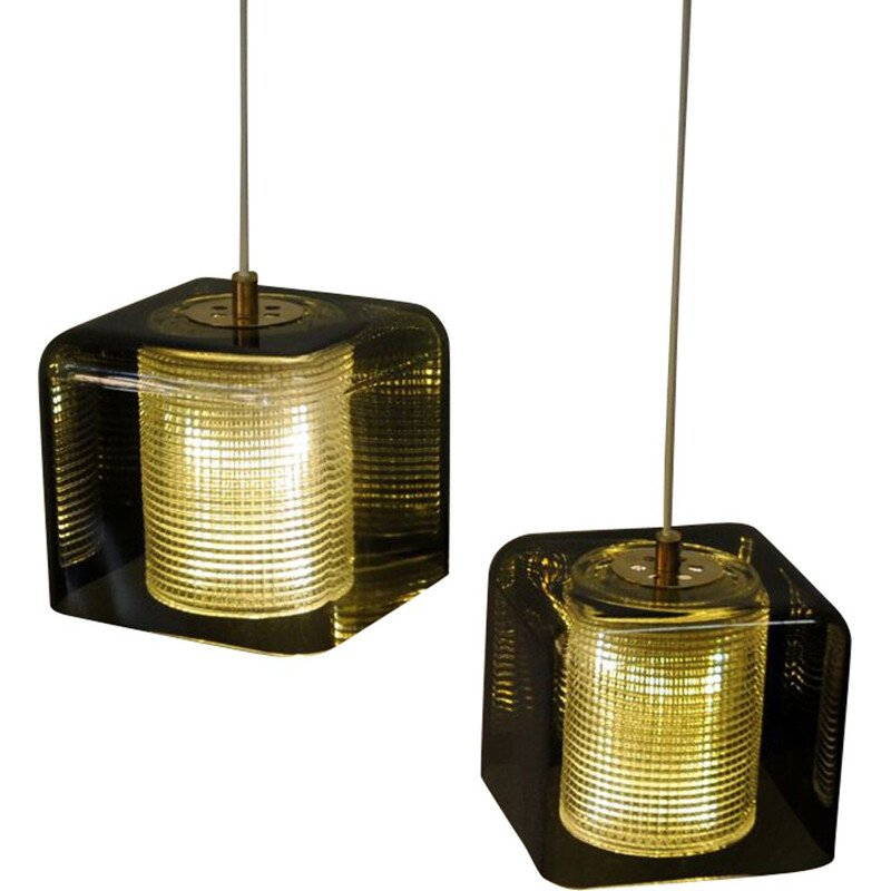 Ceiling or window pendel pair by Carl Fagerlund for Orrefors, mid century Sweden 1950s