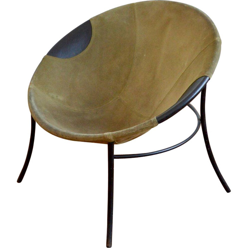Vintage Circle Balloon suede armchair 1960s