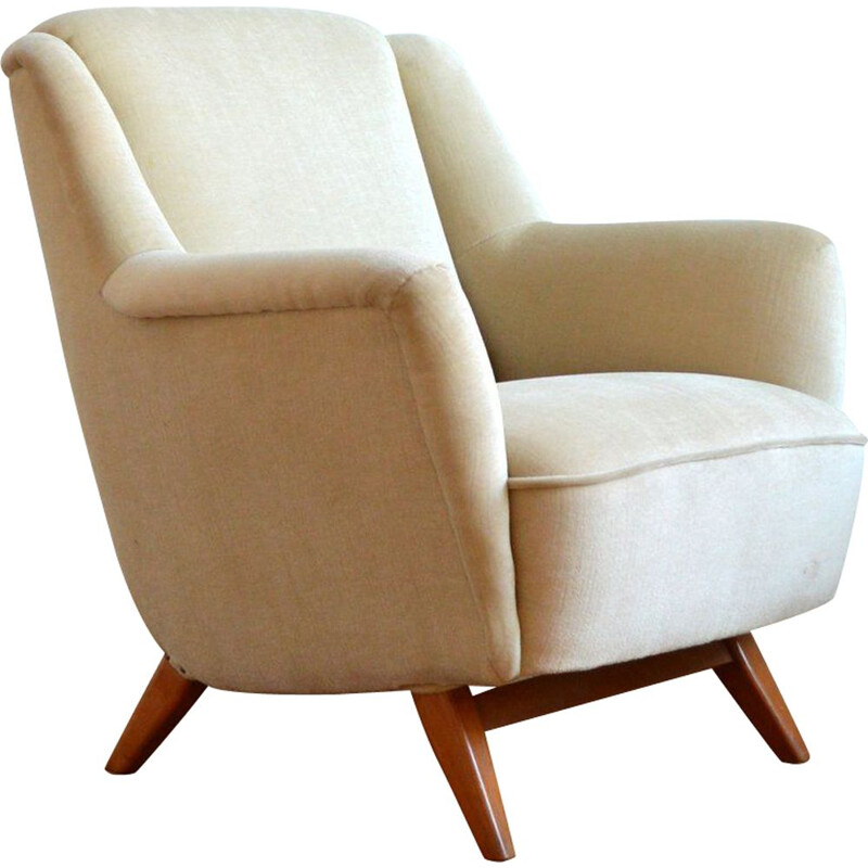 Vintage German cocktail shell armchair in beige velvet 1960