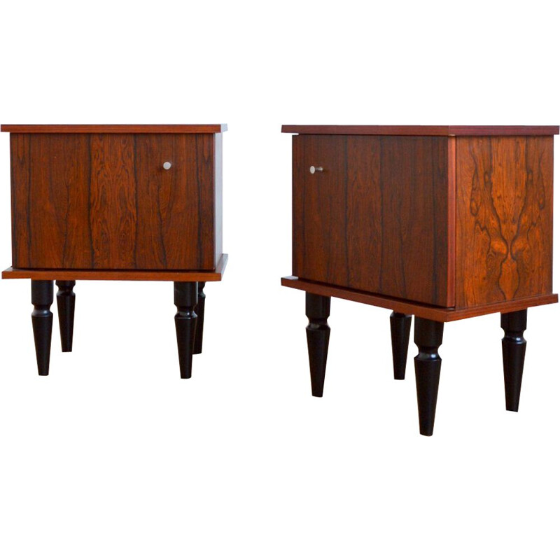 Pair of vintage rosewood bedside tables 1960s
