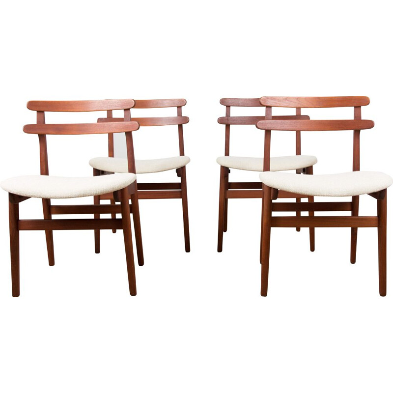 Set of 4 mid century Danish teak and fabric chairs by Poul Volther 1960