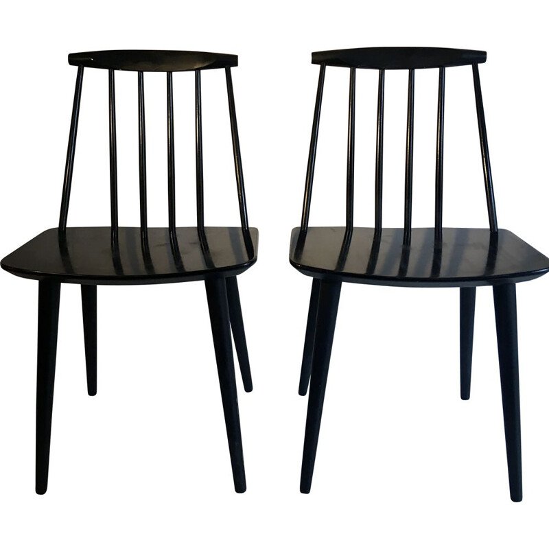 Pair of Black Vintage Chairs by Folie Palsson for FDB MOBLER Denmark 1966