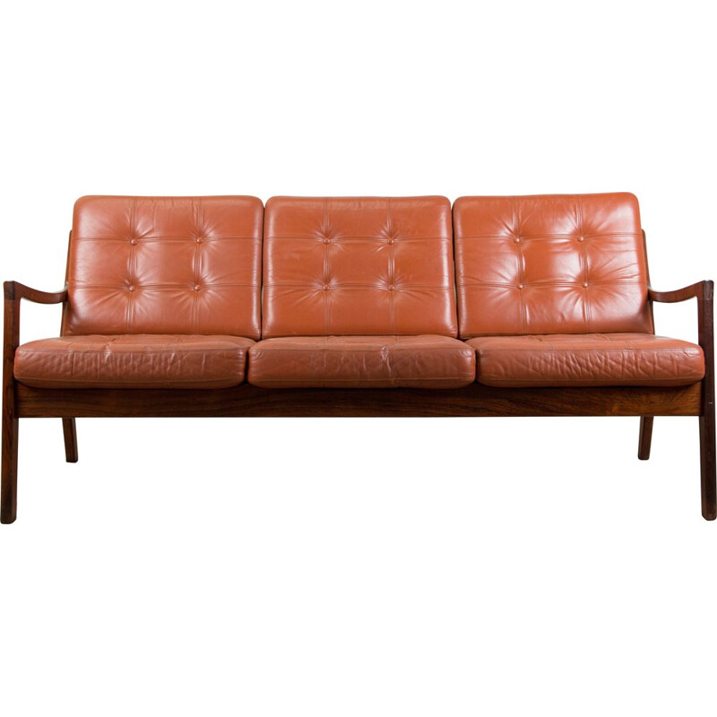 Rio Rosewood and Leather Danish Sofa mid century by Ole Wanscher