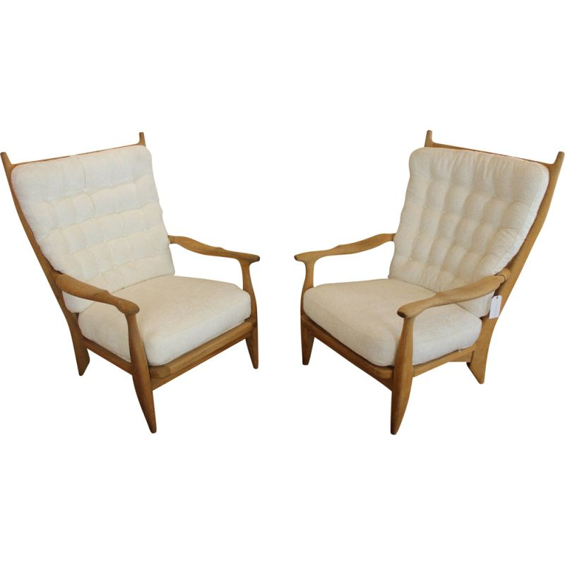 Pair of armchairs Guillerme and Chambron 1960 vintage