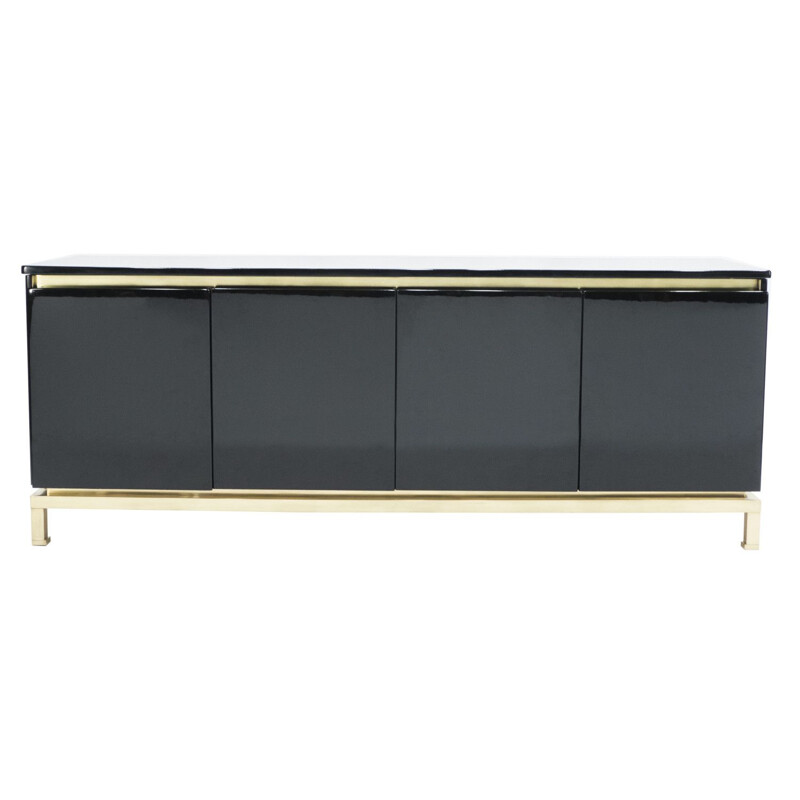 Vintage black lacquered brass sideboard from the House of Jansen, Guy Lefevre 1970
